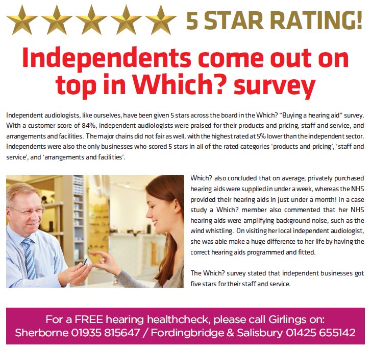 Five Star rating for Girlings Hearing